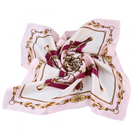 100% Silk Scarf, Petite Square, Charmeuse, Royal Equestrian, Pink/Purple