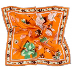 100% Silk Scarf, Petite Square, Charmeuse, Elegant Bouquet, Orange