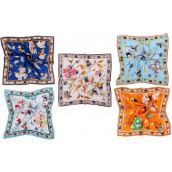 100% Silk Scarf, Petite Square, Charmeuse, Set of 5, Elegant Bouquet
