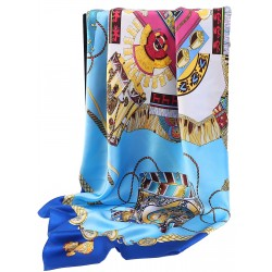 100% Silk Scarf, Extra-Large, Royal Drums, Blue