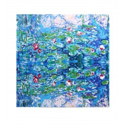 100% Silk Scarf With Hand Rolled Edges, Large, Claude Monet, Sleeping Water Lilies