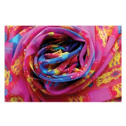 100% Silk Scarf, Oblong, Georgette, Dance In The Wind, Rose