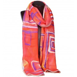 100% Ultrafine Wool Scarf, Oblong by Leisure, Red