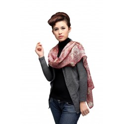 100% Ultrafine Wool Scarf, Oblong by Familiar Melody, Red