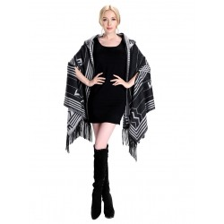 Blended Cashmere Shawl with Hood, Sleeves & Fringe Trim, Gray & Black
