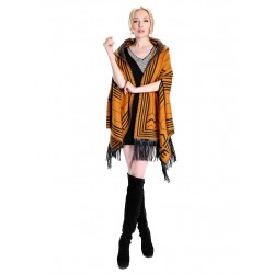 Blended Cashmere Shawl with Hood, Sleeves & Fringe Trim, Ginger & Black