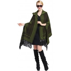 Blended Cashmere Shawl with Hood, Sleeves & Fringe Trim, Green & Black