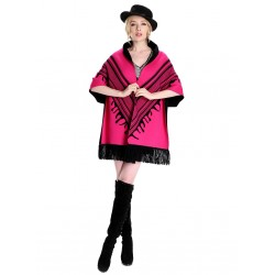 Blended Cashmere Shawl with Fringe Trim, Pink & Black
