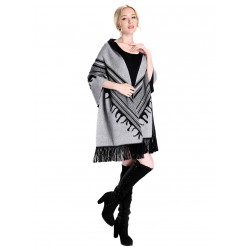 Blended Cashmere Shawl with Fringe Trim, Gray & Black
