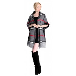 Blended Cashmere Shawl with Fringe Trim, British Plaid