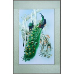 Grace Art, Extra-Large Asian Silk Embroidery Art Wall Hanging, Peacocks In Tree