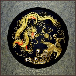 Grace Art, Large Asian Silk Embroidery Art Wall Hanging, Dragon & Phoenix
