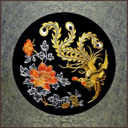 Grace Art, Large Asian Silk Embroidery Art Wall Hanging, Phoenix
