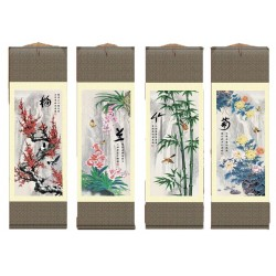Grace Art Asian Wall Scroll, Set of 4, Plum Blossom, Orchid, Bamboo, and Chrysanthemum