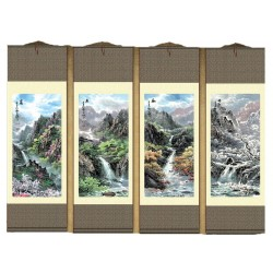 Grace Art Asian Wall Scroll, Set of 4, Four Seasons