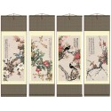 Grace Art Asian Wall Scroll, Set of 4, Four Seasons with Birds