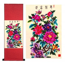 Grace Art Asian Paper Cutting Wall Scroll, Peonies