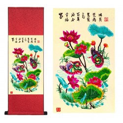 Grace Art Asian Paper Cutting Wall Scroll, Mandarin Duck Couple