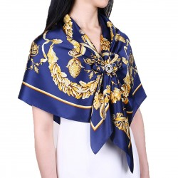 100% Silk Scarf, Extra-Large, Royal PIne Cone, Dark Blue