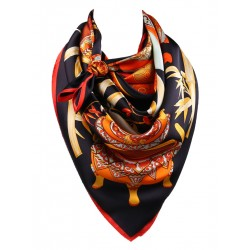 100% Silk Scarf, Extra-Large, Bamboo & Vase, Orange and Black