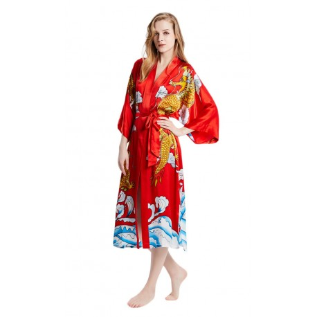 Grace Silk 100% Silk Long Robe Kimono, Hand Painted, Dragons of Sea and Sky, Scarlet
