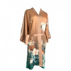 Grace Silk 100% Silk Short Robe Kimono, Tropical Treat, Orange