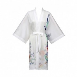 Grace Silk 100% Silk Short Robe Kimono, Peacock Paradise, White