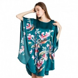 Grace Silk 100% Silk Nightgown, Floral Embroidery, Teal