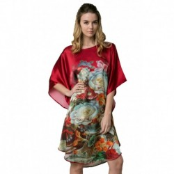 Grace Silk 100% Silk Nightgown, Crackled Floral Painting, Rose