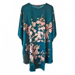 Grace Silk 100% Silk Nightgown, Winter Blossoms, Turquoise
