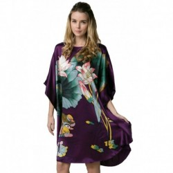 Grace Silk 100% Silk Nightgown, Hand Painted Duck Pond with Lotus, Purple