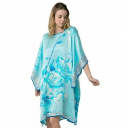 Grace Silk 100% Silk Nightgown, Hand Painted Peony & Bamboo Leaves, Blue