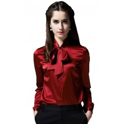 Solid Color, Long Sleeve Satin Silk Blouse, Maroon, Size Large